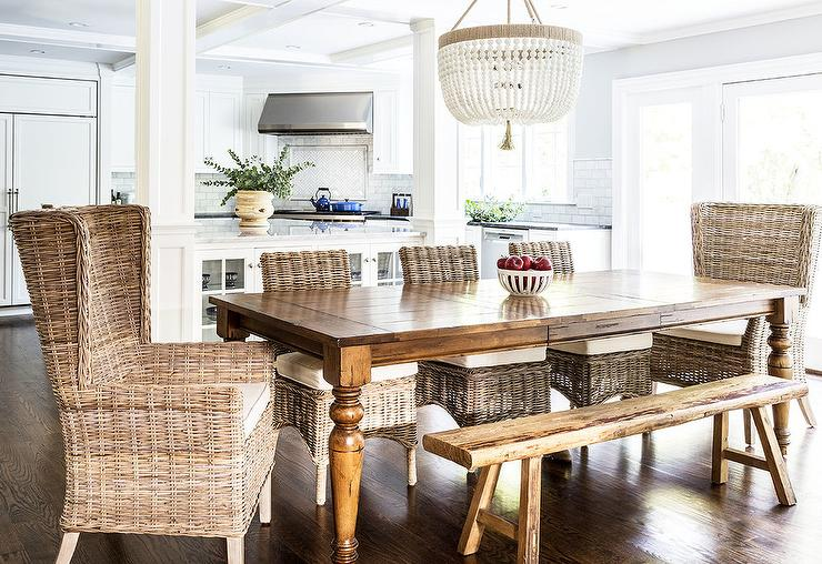 Wicker Wingback Chairs At Farmhouse Dining Table