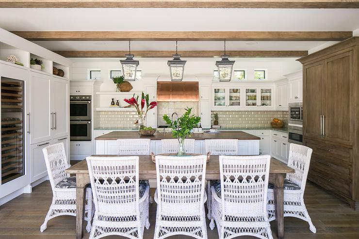 White Rattan Chairs At Brown Wood, White Rattan Dining Room Chairs