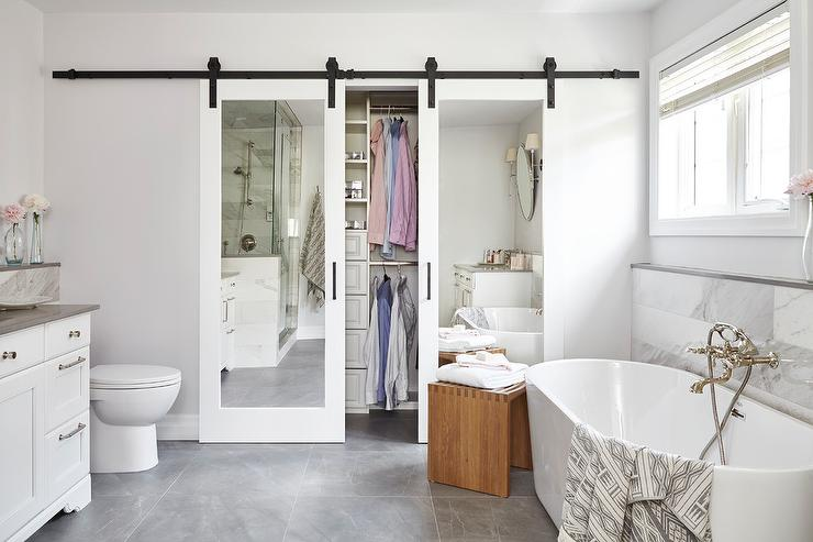 Sliding Mirrored Closet Door on Rails - Transitional - Bathroom