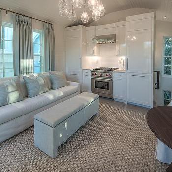 long light gray linen sofa - Open Concept Design Ideas