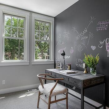 Black Oak Desk On Chalkboard Accent Wall