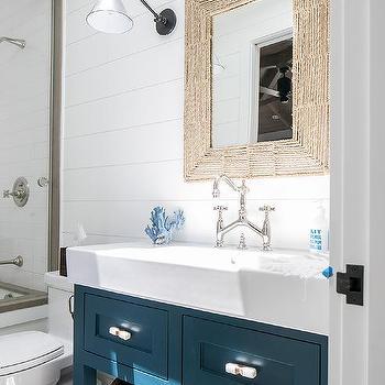 Peacock Blue Bath Vanity With Rectangular Rope Mirror