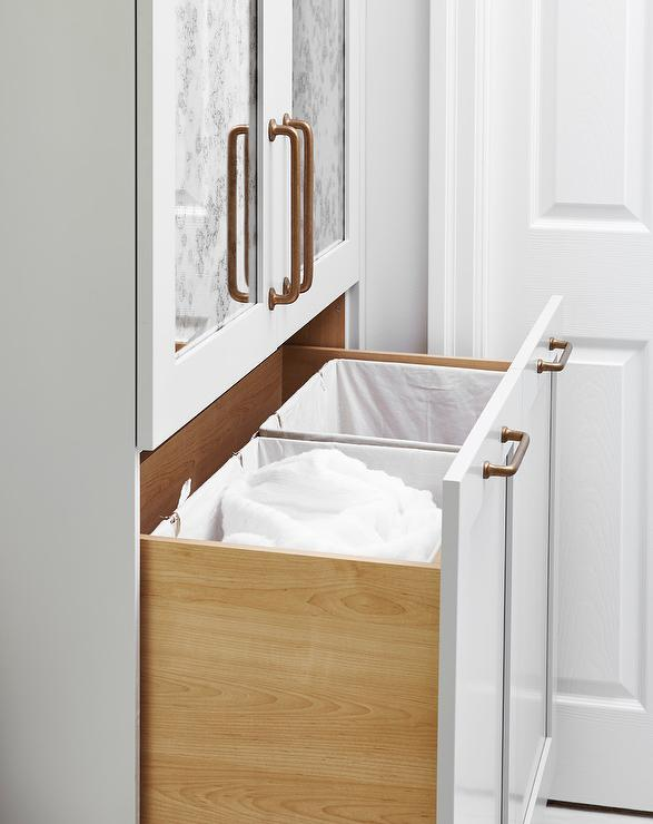 Bathroom Pull Out Hamper Cabinet With Clothes Dividers
