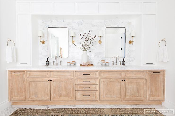 Light Stained Oak Dual Washstands With White Upper Cabinets Transitional Bathroom