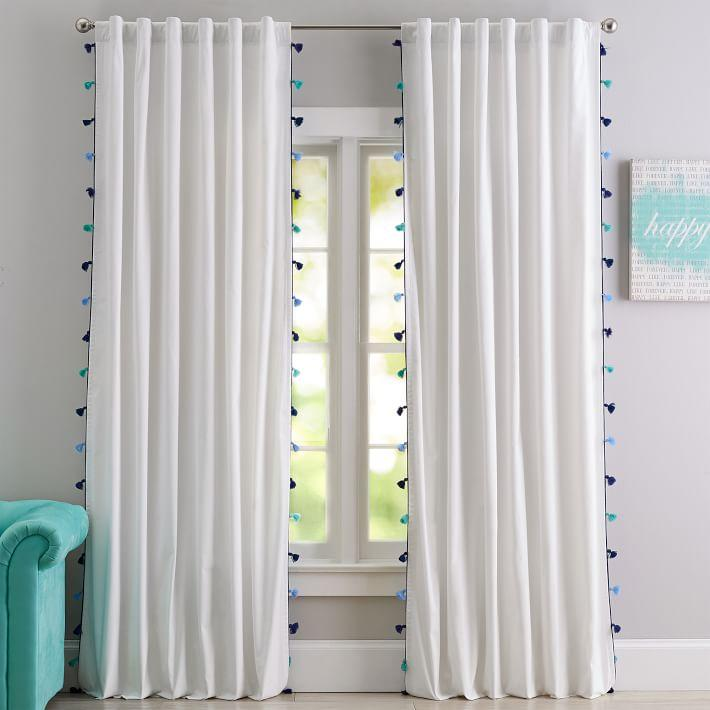 White And Blue Moroccan Blackout Curtain