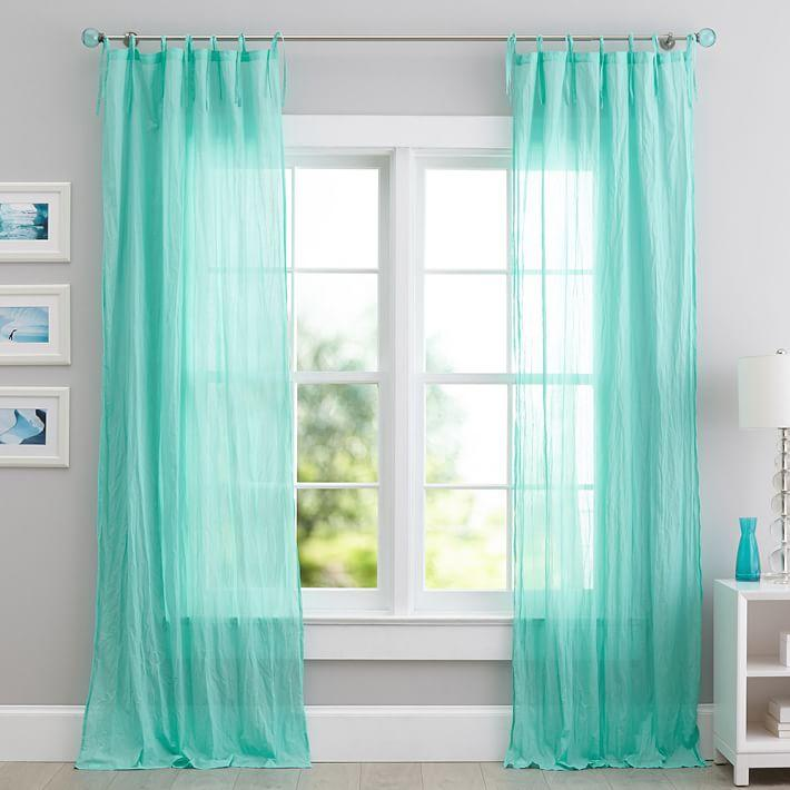 Teal Twisted Sheer Window Curtains
