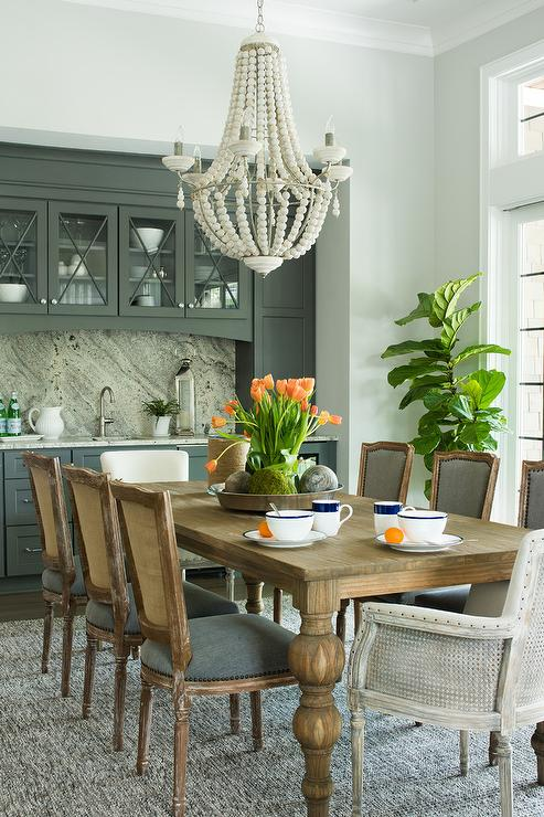 Cane Back Dining Chairs with Gray Seat Cushions ...