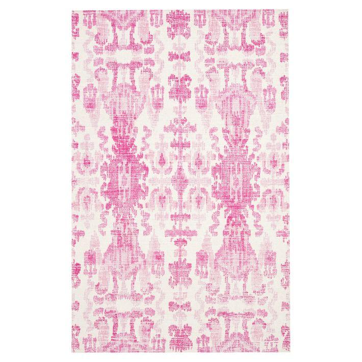 Famous Ikat Pink White Distressed Wool Rug BW42