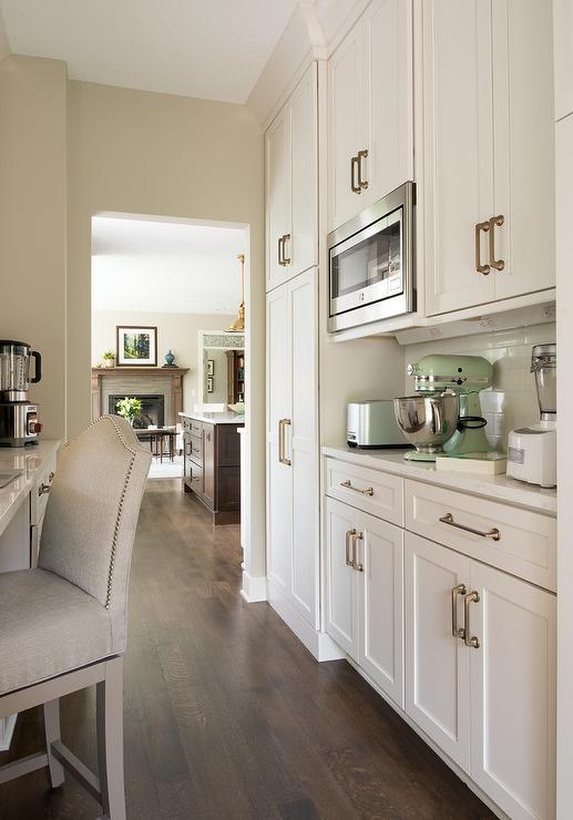 Kitchen Pantry With Mint Green Kitchenaid Mixer