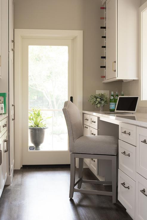 Kitchen Pantry Desk Under Vertical Wine Rack