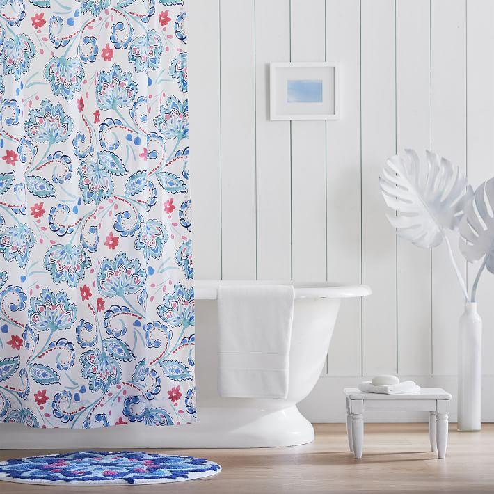 Marni Blue Floral Cotton Shower Curtain