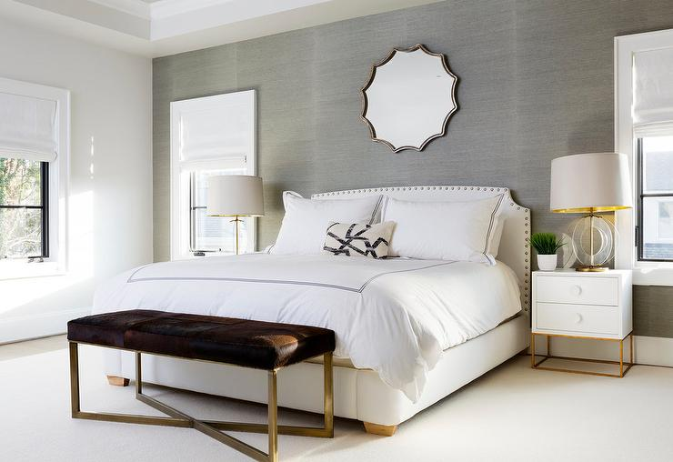 White And Beige Bedroom With Gray Grasscloth Wallpaper