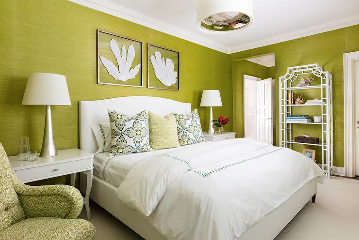 Lime Green Grasscloth with White Bamboo Etagere - Transitional - Bedroom