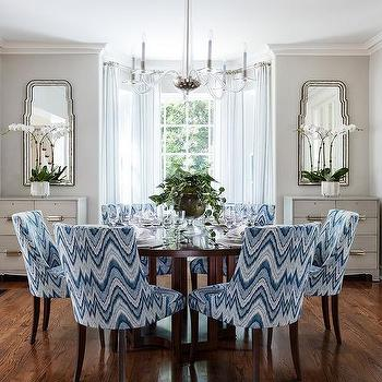 Blue Chevron Dining Chairs With Round Wood Table