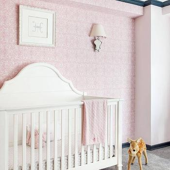Pink Nursery Wallpaper with White French Crib