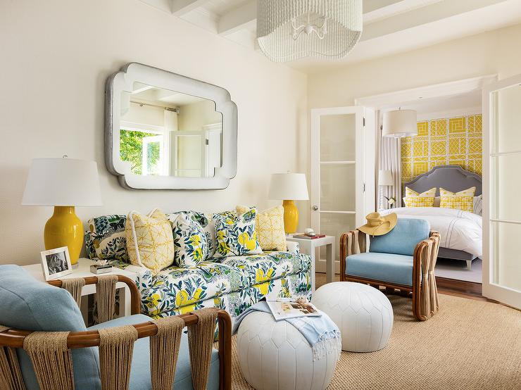 Yellow And Blue Living Room Transitional Living Room