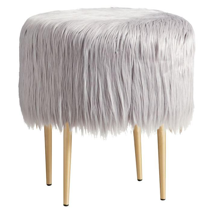 Seating Round Gray Vanity Stool