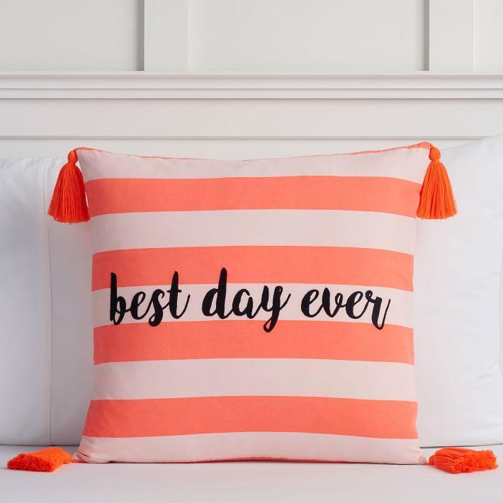orange stripe best day ever pillow