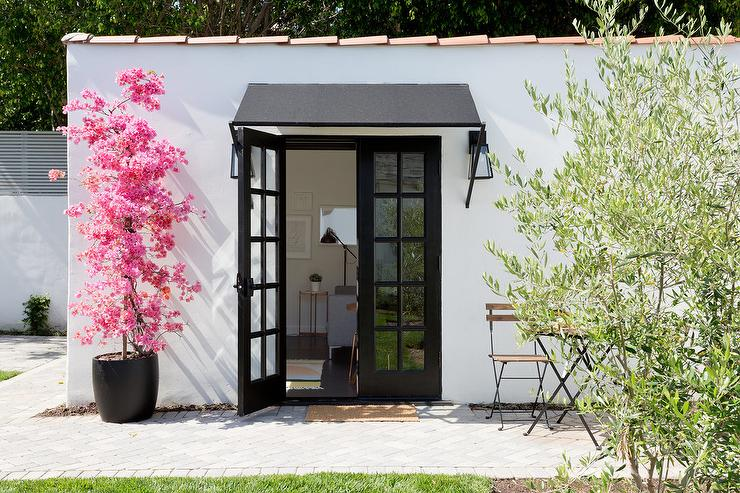 Black French Doors with Potted Pink Cherry Blossom Tree ...