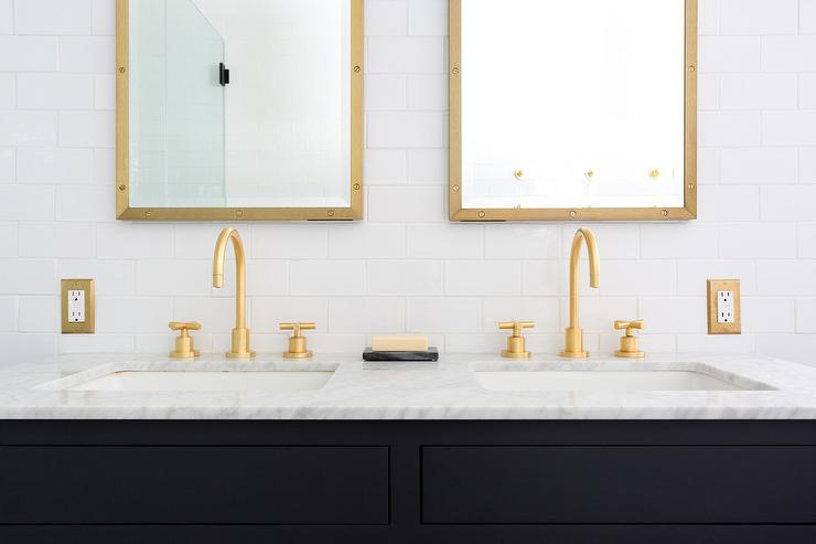 Black Dual Bath Vanity With Gold Faucets Transitional