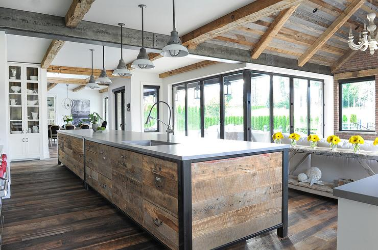 reclaimed wood planks on kitchen island - Reclaimed Wood Ceiling
