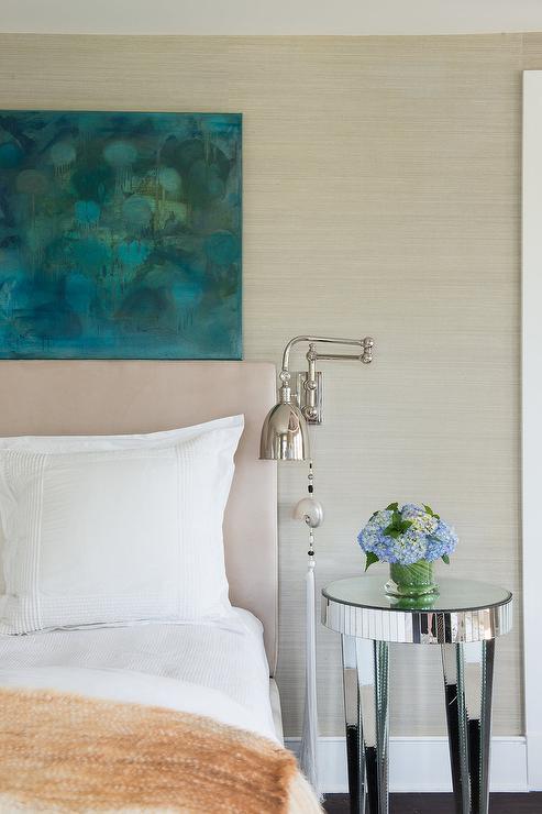 Platinum Gray Grasscloth Wallpaper Cottage Bedroom