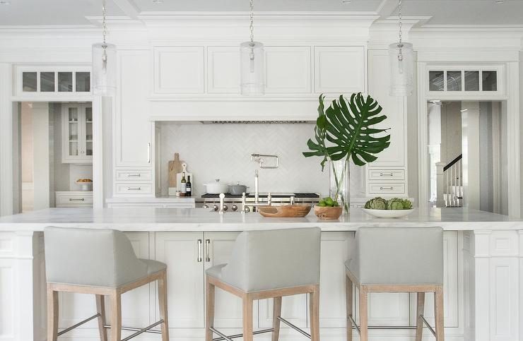 Dove Gray Leather Counter Stools With White Island