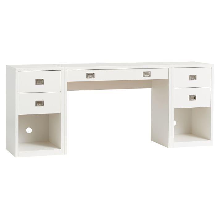 White Double Pedestal Desk