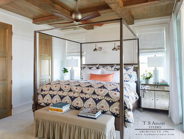 Brown Wood Canopy Bed with Antiqued Mirrored Nightstands : canopy bed ceiling fan - memphite.com