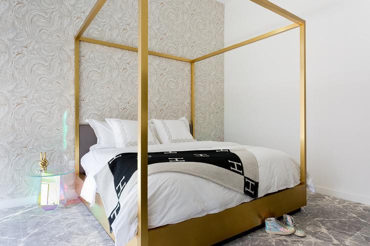 Black Hermes Blanket with Gold Canopy Bed & Black Hermes Blanket with Gold Canopy Bed - Contemporary - Bedroom