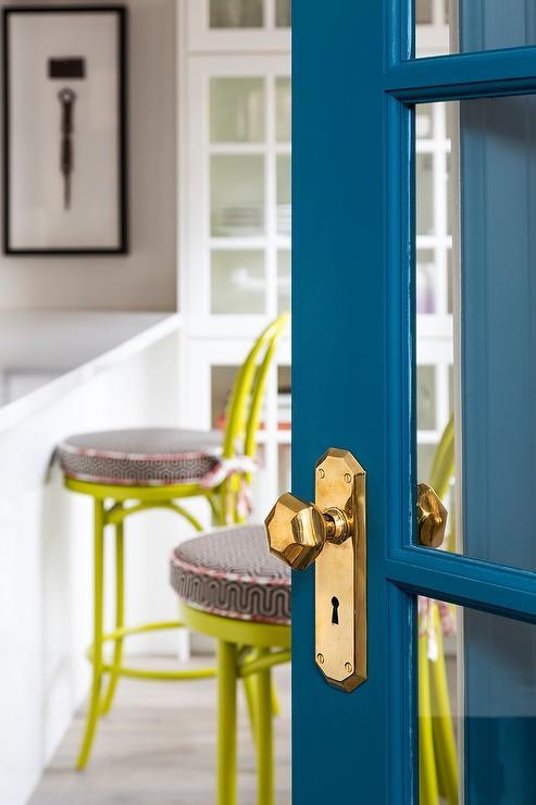 Peacock Blue Door with Brass Octagon Door Knob - Contemporary - Kitchen