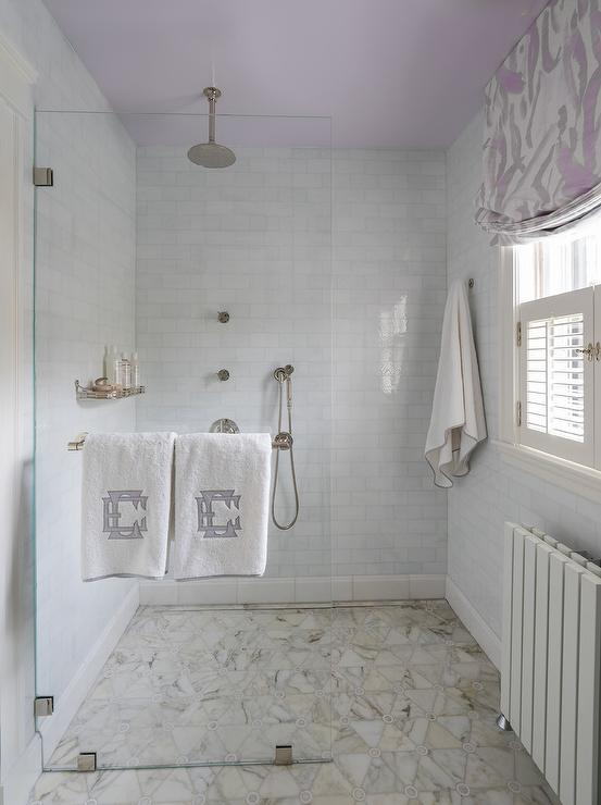 Marble Triangle Tiles In Kids Walk In Shower Transitional Bathroom