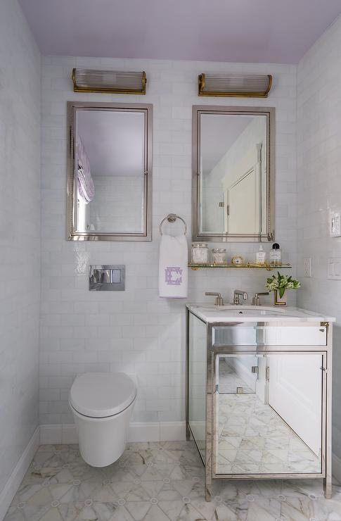 Small mirrored washstand with marble top transitional for Small marble bathroom
