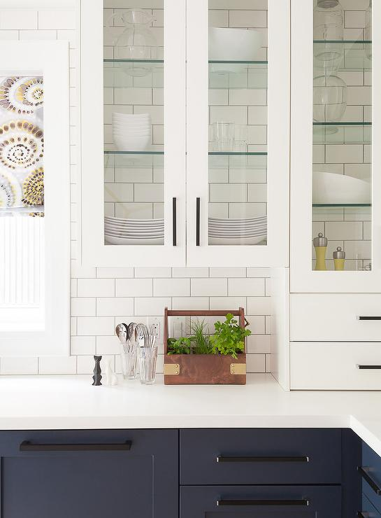Glass Shelving in Glass Front Cabinets - Transitional - Kitchen
