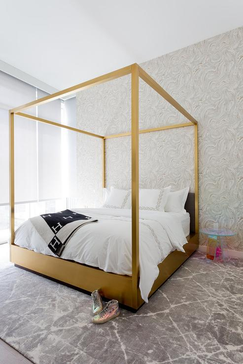 Gold canopy bed with lucite table contemporary bedroom for Gold bed canopy