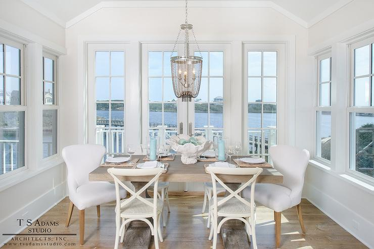 white wood dining chairs. French White X Back Dining Chairs With Gray Beaded Chandelier Wood