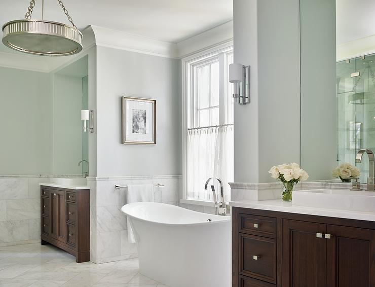 Bathtub Nook With Decorative Wall Moldings Transitional