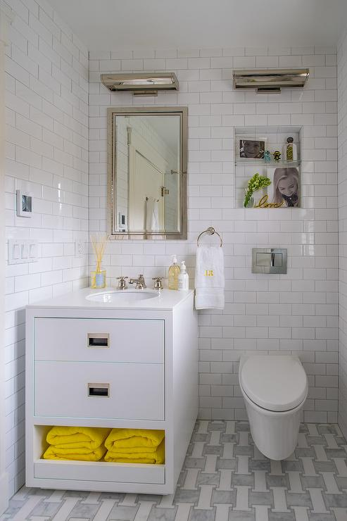 White Kids Bath Washstand With Yellow Towels