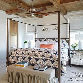 Rustic Wood Coffered Bedroom Ceiling Design Ideas