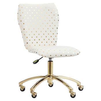 White Leather Aluminum Gold Desk Chair