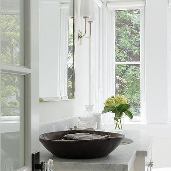 Nickel Mirror With Carrera Top Bath Vanity