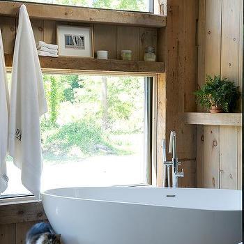 Rustic Cabin Bathroom with Corner Oval Bathtub. Cabin Bathroom with Gray Sloped Ceiling   Country   Bathroom