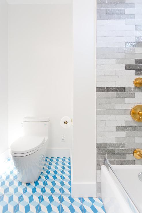 Blue Geometric Bathroom Floor Tiles