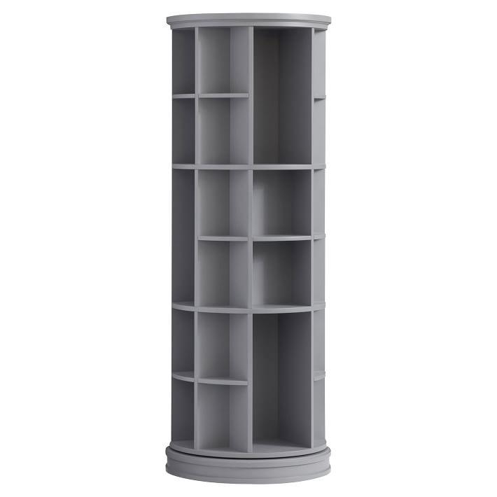 Gray Round Wooden Revolving Bookcase Tower