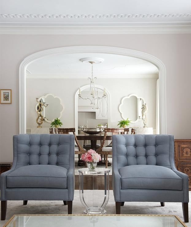 Steel Blue Tufted Chairs With Round Acrylic Accent Table