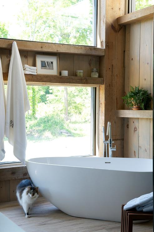 . Rustic Cabin Bathroom with Corner Oval Bathtub   Country   Bathroom