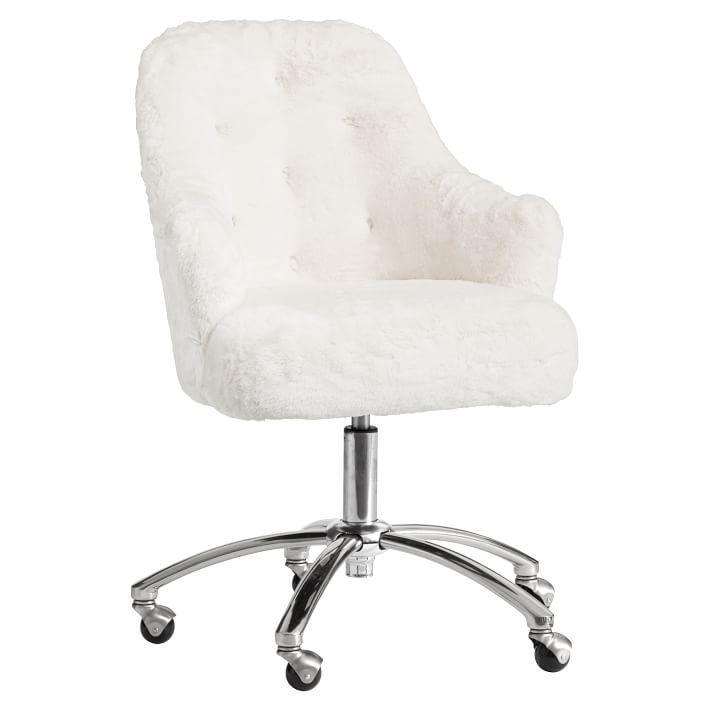 Superb Polar Bear Faux Fur Tufted Desk Chair Machost Co Dining Chair Design Ideas Machostcouk