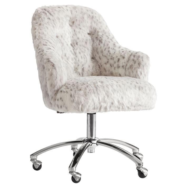 Gray Leopard Faux Fur Tufted Desk Chair