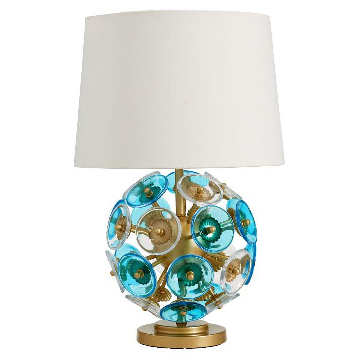 Glass disc blue globe table lamp