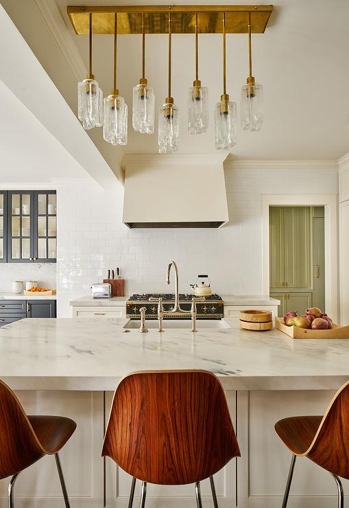 Lovely Glass and Brass Staggered Pendant Light - Transitional - Kitchen XR75
